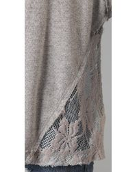 Free People - Gray Cropped French Terry Pullover - Lyst