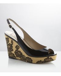 Valentino | Black Patent Lace Wedge | Lyst