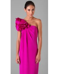 Notte by Marchesa - Pink One Shoulder Column Gown with Flower - Lyst