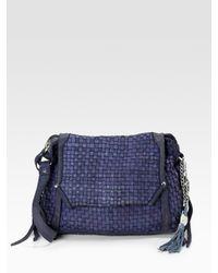 Olivia Harris | Blue Dirty Basket Weave Crossbody Leather Bag | Lyst