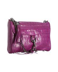Rebecca Minkoff - Purple Magenta Croc Embossed Leather Mac Crossbody Convertible Clutch - Lyst