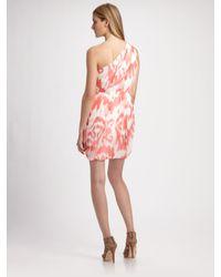 Shoshanna - Pink One-shoulder Ikat Dress - Lyst