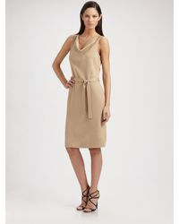 St. John - Natural Milano Knit Cowlneck Dress - Lyst
