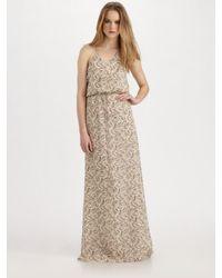 Theory - Natural Brynia Printed Silk Georgette Maxi Dress - Lyst