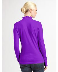 Tory Burch | Purple Ruffled Polo Top | Lyst