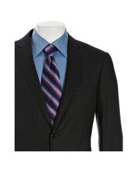 John Varvatos | Black Midnight Pinstripe Super 130s Stretch Wool Hampton Suit with Flat Front Pants for Men | Lyst
