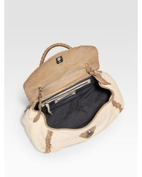 Olivia Harris | Natural Two-tone Flap Satchel | Lyst