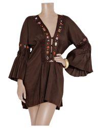 Emamó | Brown Embellished Voile Kaftan | Lyst
