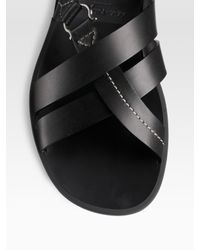 Ferragamo - Black Leather Sandals for Men - Lyst