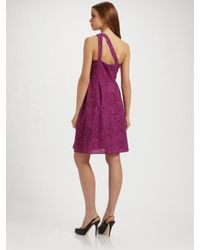 Nanette Lepore | Purple One Shoulder Jacquard Marilyn Dress | Lyst