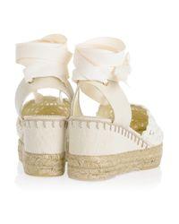 Ralph Lauren Collection - White Umika Crocheted Espadrille Wedges - Lyst