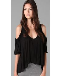 T-bags | Black Draped Shoulder Top | Lyst