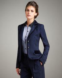 Philosophy di Alberta Ferretti   Blue Velvet-trim Pinstripe Blazer   Lyst