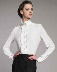 Alexander McQueen | White Plisse Stand-collar Blouse | Lyst