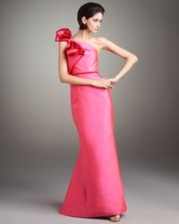 Carolina Herrera | Pink Contrast Bow-shoulder Gown | Lyst