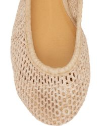 J.Crew | Natural Perforated Suede Ballerina Flats | Lyst