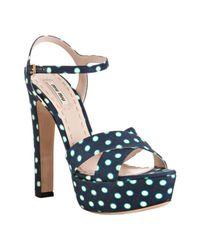Miu Miu | Blue Polka-dot Sandals | Lyst