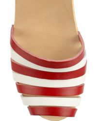Swedish Hasbeens - Red Striped Beack Leather Clog Sandals - Lyst
