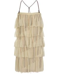 Bess | Natural Chain-embellished Silk-chiffon Mini Dress | Lyst
