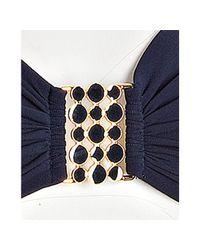 Robin Piccone - Blue Navy Enamel Detail Bandeau Halter Bikini Top - Lyst