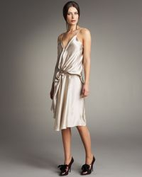 Lanvin | Metallic Gathered Silk Dress | Lyst