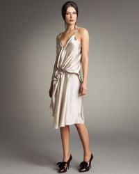 Lanvin | Metallic Gathered Silk Dress | Lyst
