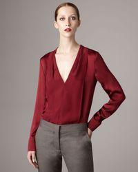 Stella McCartney   Red Silk V-neck Blouse   Lyst