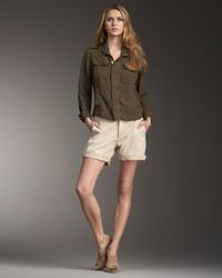 Current/Elliott | Green Cuffed Twill Shorts | Lyst