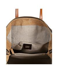 Fendi - Brown Striped Canvas and Bourbon Leather 2bag Tote - Lyst