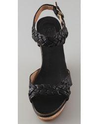 Frye | Black Barylin Wedge Sandals | Lyst