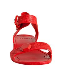 Givenchy - Red Pebbled Rubber Ankle Strap Sandals - Lyst