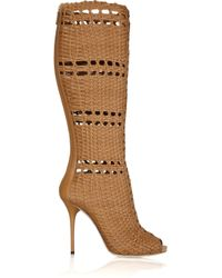 Gucci - Brown Woven Leather Boots - Lyst