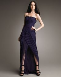 J. Mendel | Purple Strapless High-low Gown | Lyst
