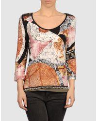 Just Cavalli - Multicolor T-shirt Mezza Manica Girocollo Over Stampa Gemme - Lyst