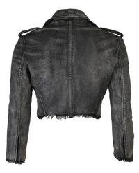 Muubaa - Black Marble Leather Biker Jacket - Lyst