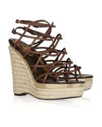 Roberto Cavalli   Brown Leather Espadrille Wedge Sandals   Lyst