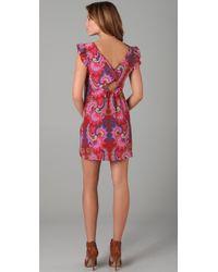 Tibi | Pink Isabella Cutout Printed Silk Dress | Lyst