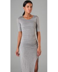 A.L.C. | Gray Theo Ruched Stretch-jersey Maxi Dress | Lyst