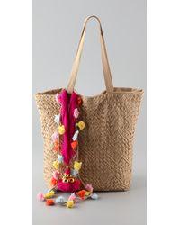 Antik Batik - Natural Novi Large Woven Cotton-twill Tote - Lyst