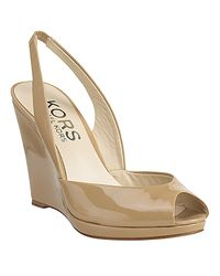 Kors by Michael Kors | Natural Vivian - Nude Patent Wedge Slingback | Lyst