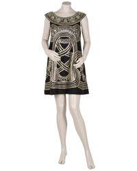 Marchesa - Black Embellished Trapeze Dress - Lyst