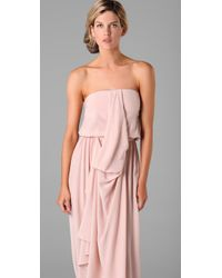 Zimmermann - Pink Strapless Draped Maxi Dress - Lyst