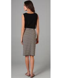 DKNY - Black Scoop Neck Striped Dress - Lyst
