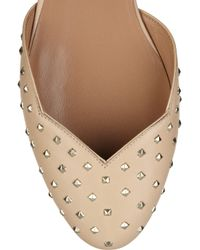 Valentino - Natural Chain-strap Studded Leather Flats - Lyst