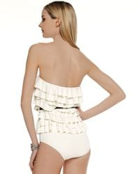 Michael Kors | Natural Cascading Ruffle Swimsuit | Lyst