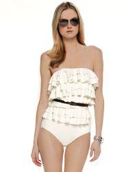 Michael Kors - Natural Cascading Ruffle Swimsuit - Lyst