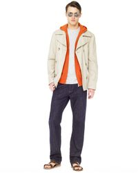 Michael Kors | Natural Coated Linen Peacoat, Zip Hoodie & Modern-fit Denim Jeans for Men | Lyst
