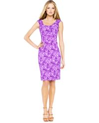 Michael Kors - Purple Floral-print Dress - Lyst