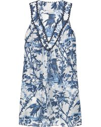 MILLY | Blue Floral-print Silk-chiffon Mini Dress | Lyst