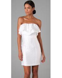 Thread Social - White Short Strapless Double Ruffle Dress - Lyst